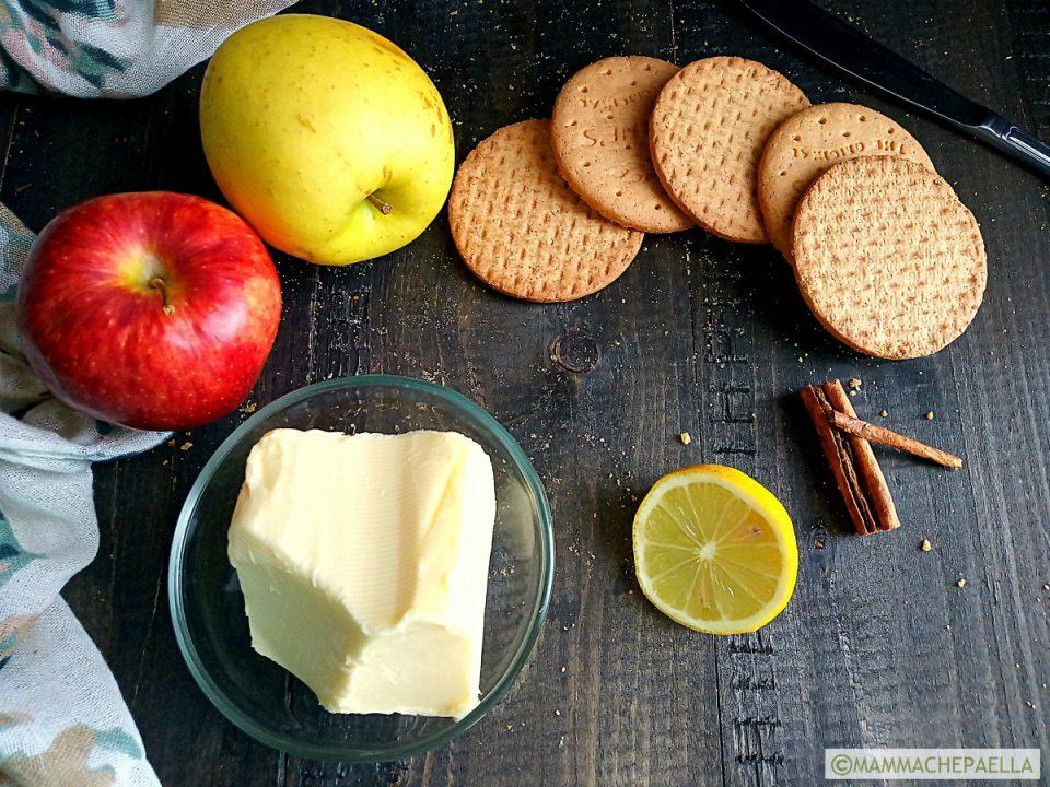 Ingredienti del simil crumble di mele veloce e leggero