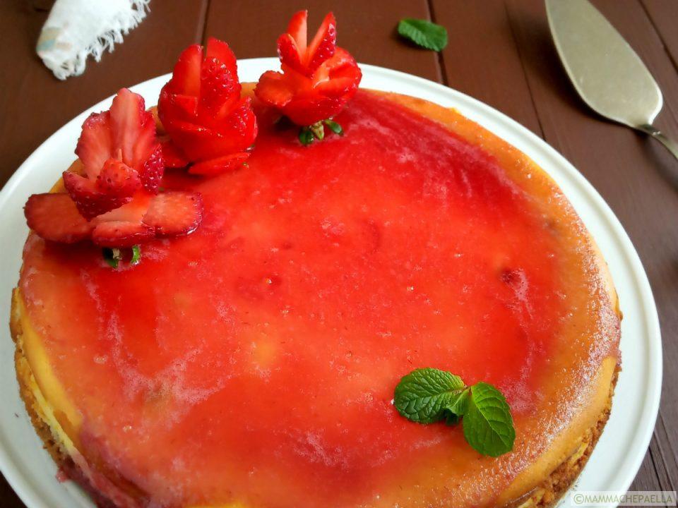 Cheesecake alle fragole con cottura in forno