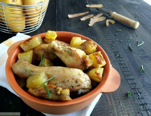 Fusi ed alette di pollo al forno, alle erbe aromatiche