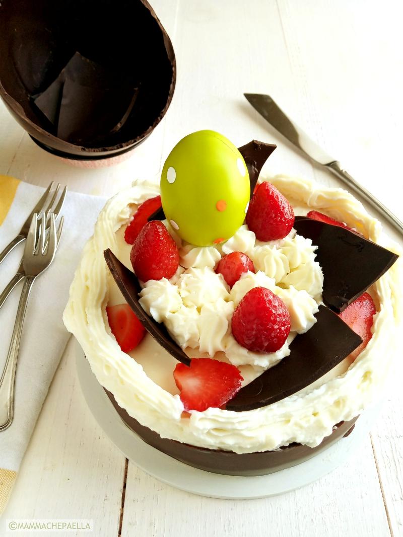 Torta con ricotta cioccolato e fragole