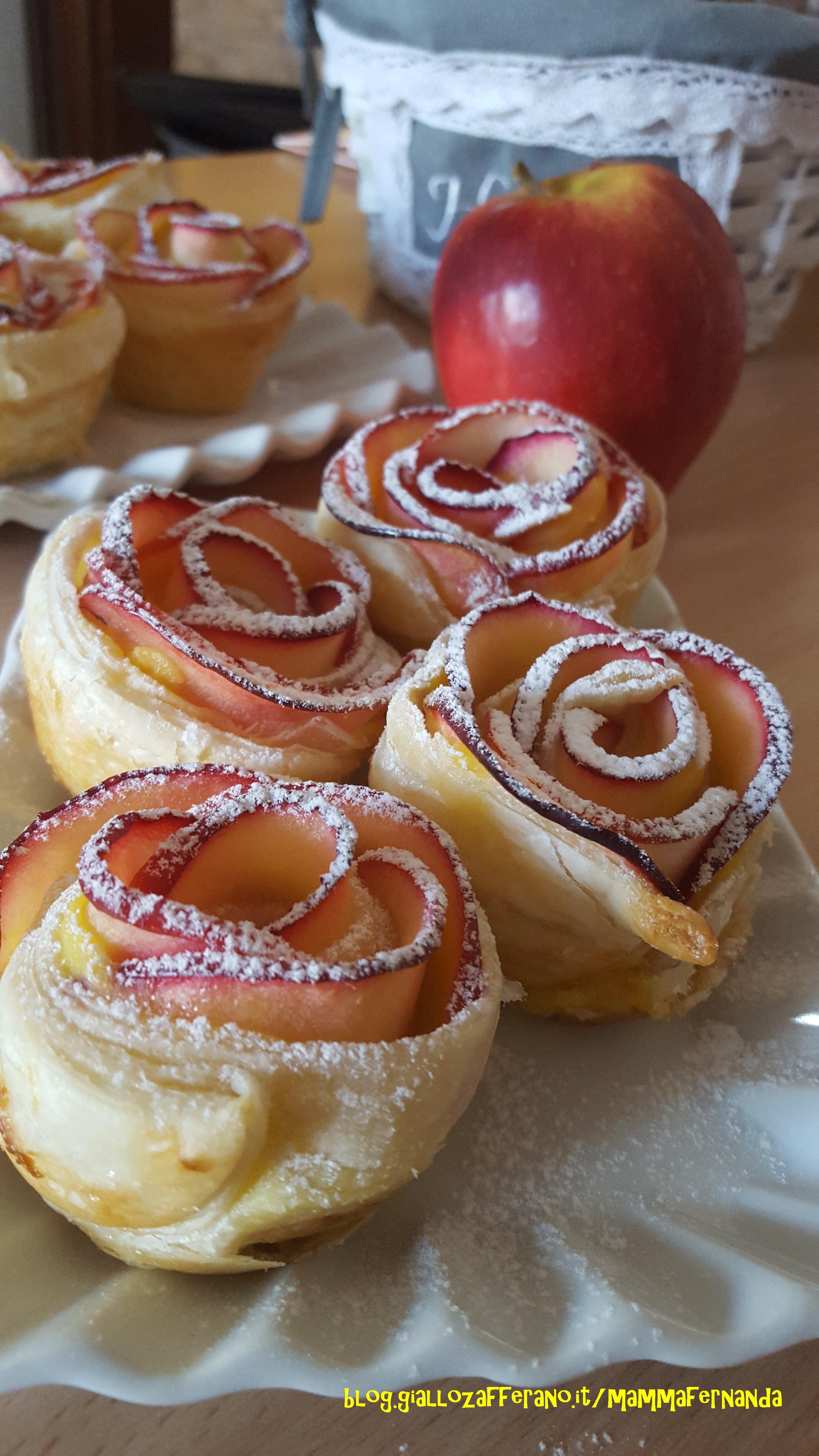 Rose di mele, pasta sfoglia e crema | Donnepasticcione