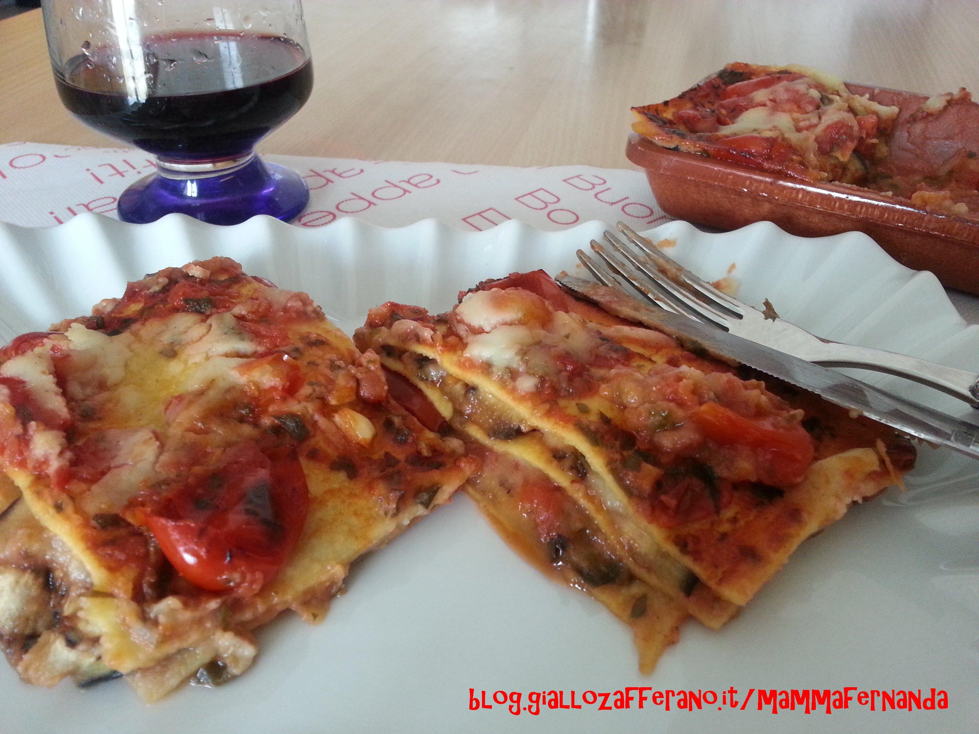 Lasagne con melanzane e crema al sedano rapa