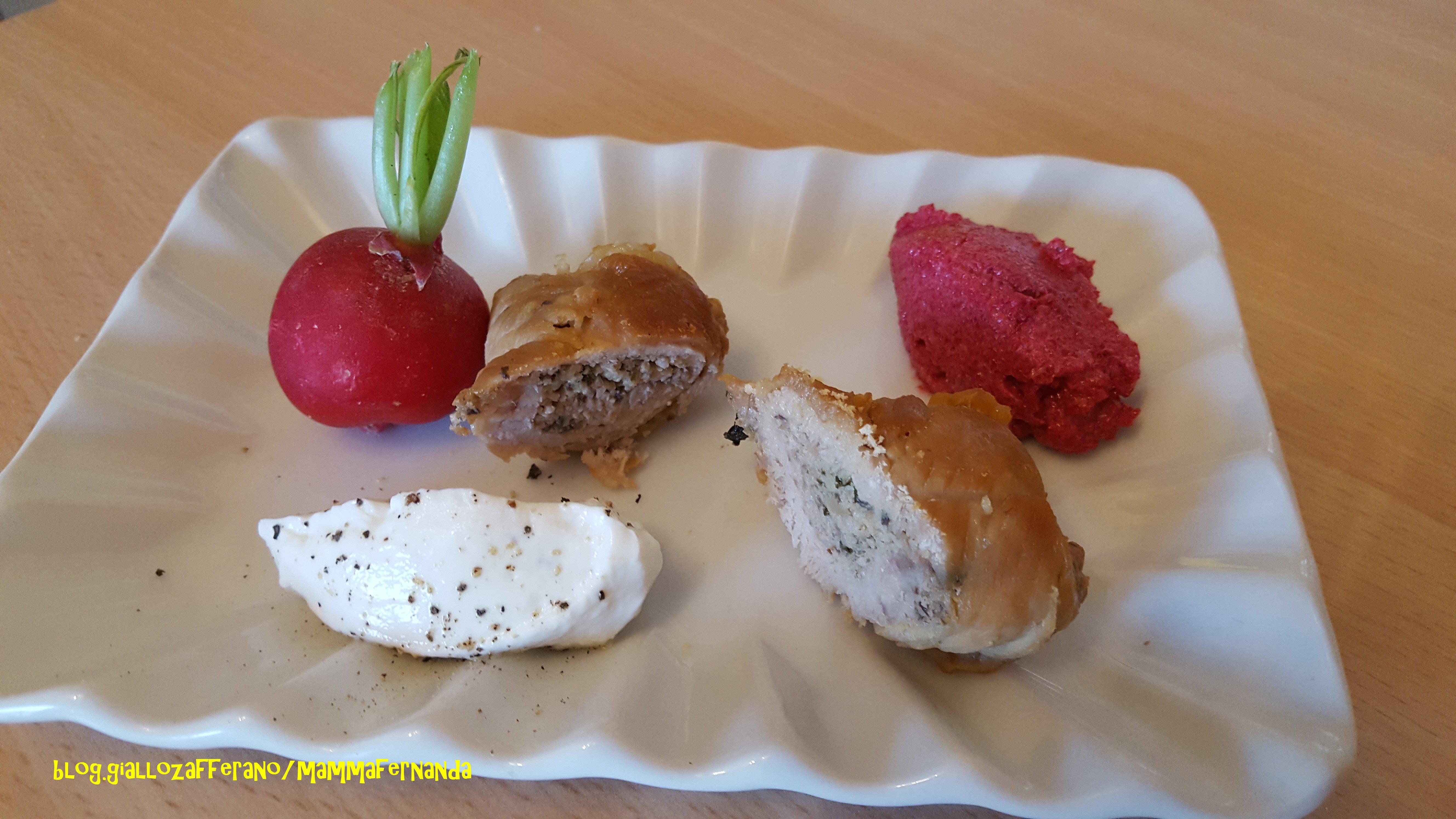 Involtini di vitello con salsiccia piccante