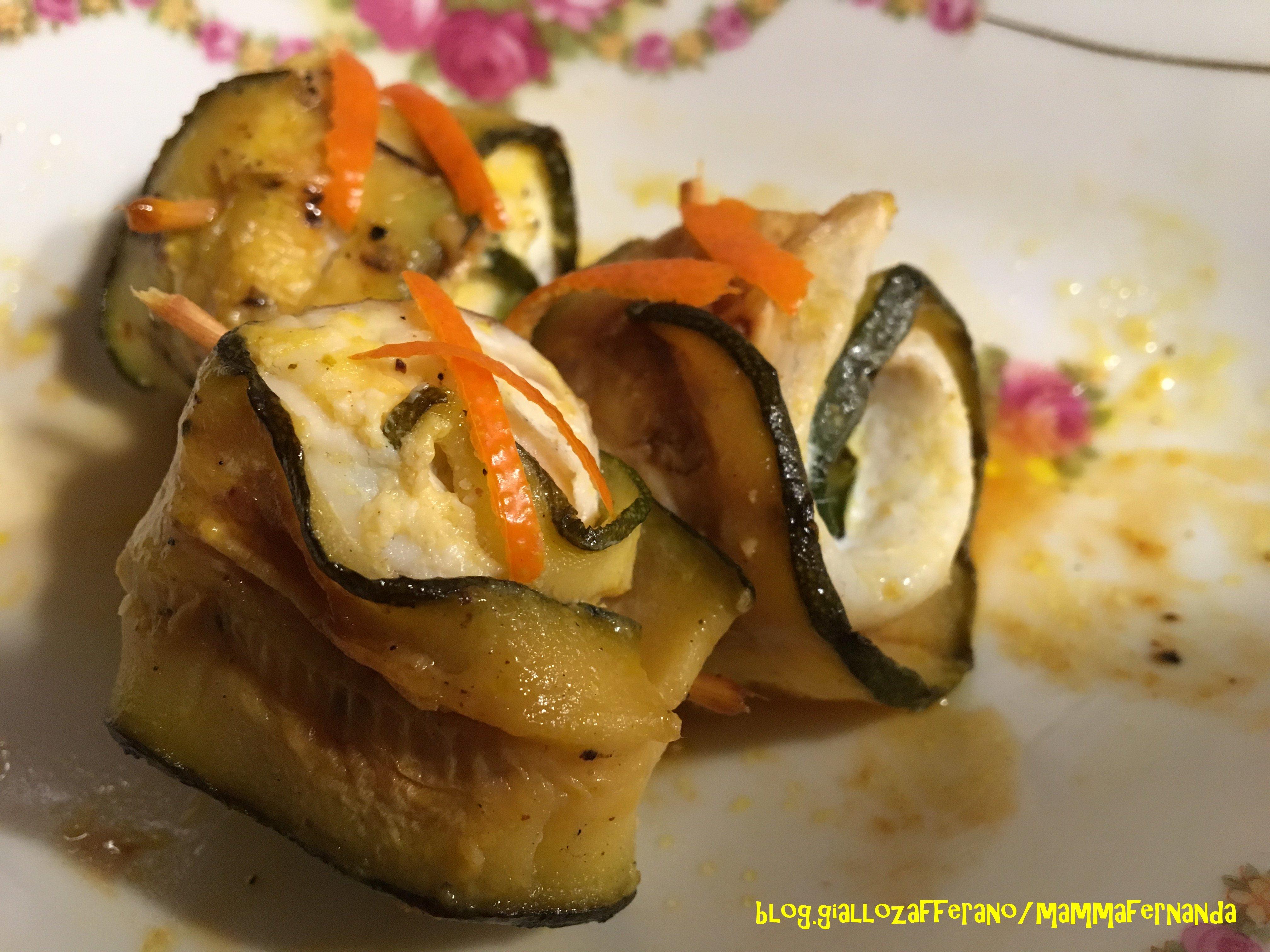 Rotolini di zucchine con orata