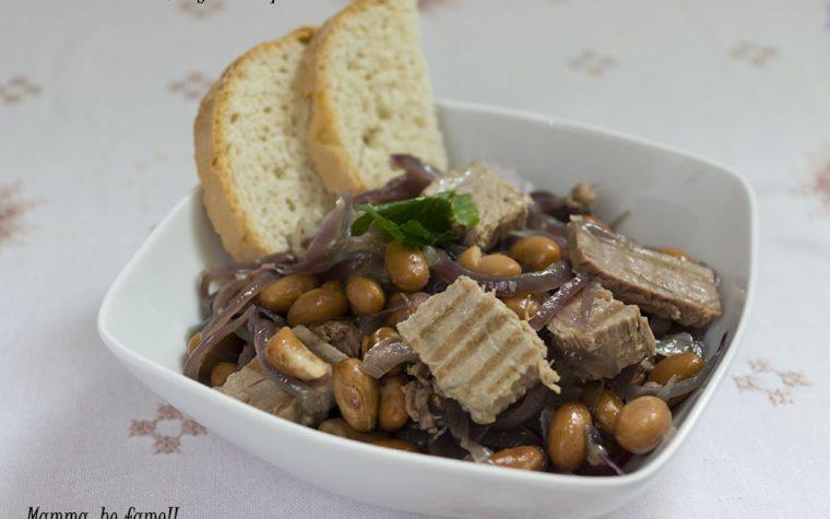 Insalata con tonno fresco, fagioli e cipolla