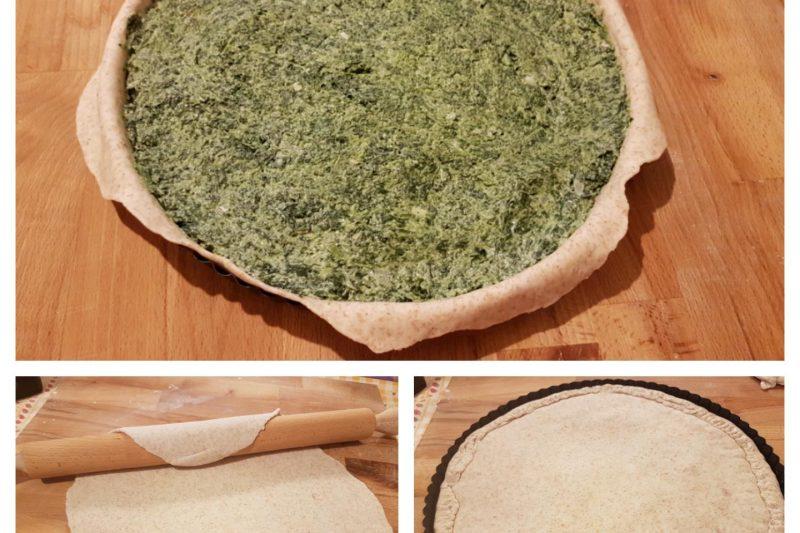 Torta salata spinaci e ricotta con pasta matta