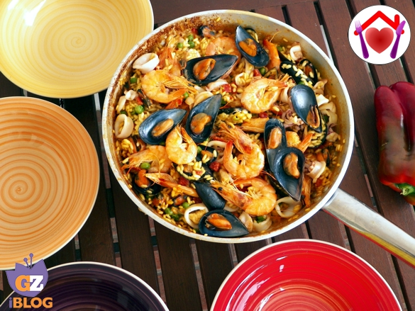 Paella pesce e chorizo