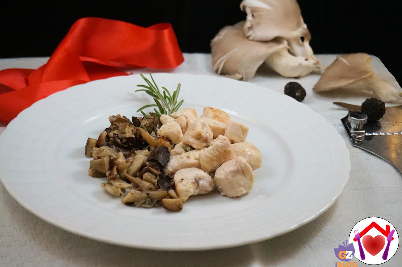 Pollo con pleurotus e tartufo
