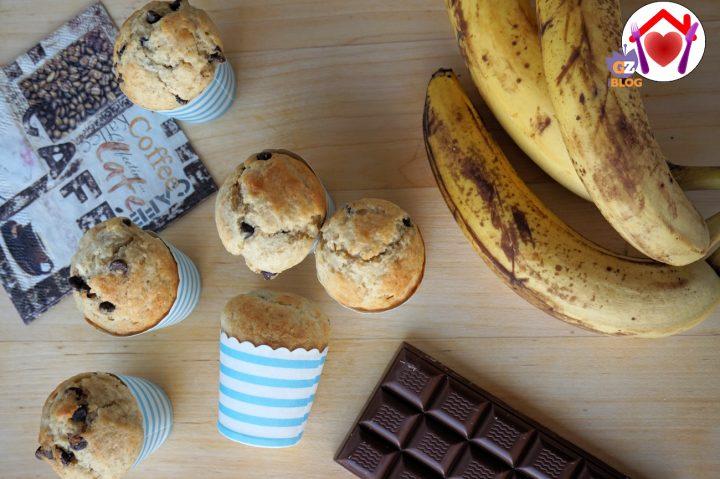 muffin alla banana con goce di cioccolato
