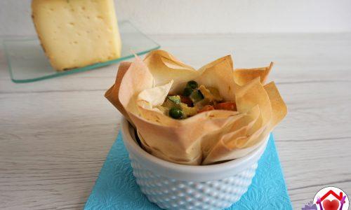 Cestini di pasta fillo, verdure e formaggio Il Fassano