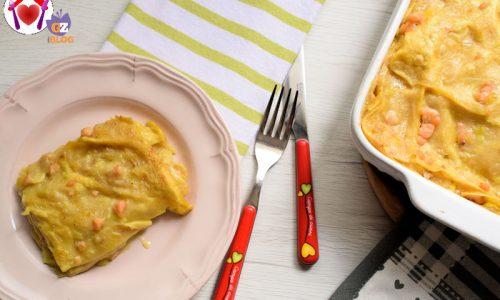 Lasagne al salmone senza latte e senza uova