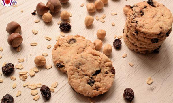 Biscotti vegani con nocciole e mirtilli rossi