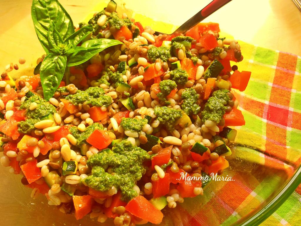 insalata estiva orzo e lenticchie