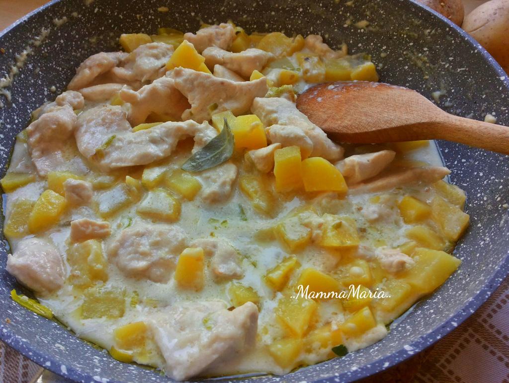 pollo al latte con patate