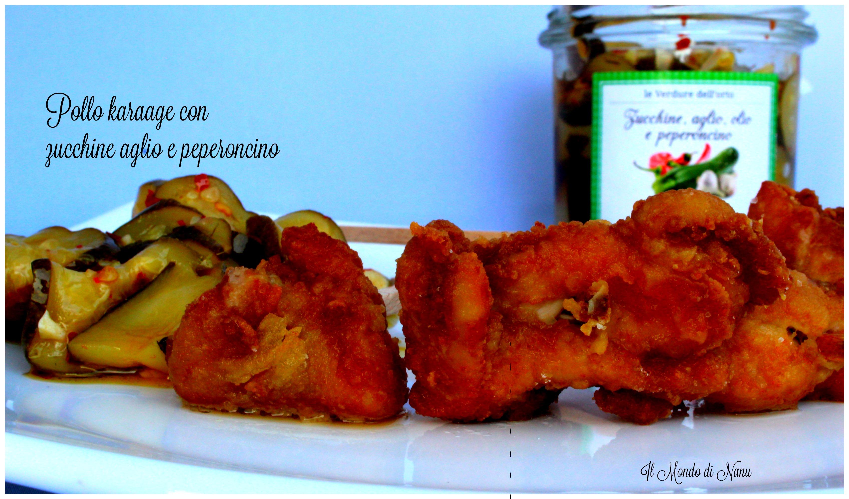 Pollo karaage con zucchine e peperoncino