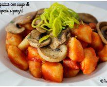 Gnocchi di patate con sugo di pomodoro,speck e funghi
