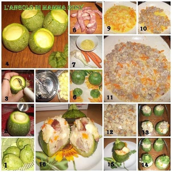 Zucchine tonde ripieni di risotto con Luganega