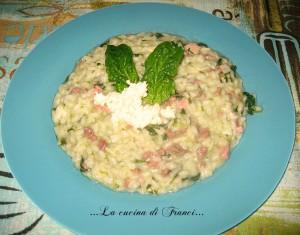 risotto filante,spinacini,carne trita e pancetta