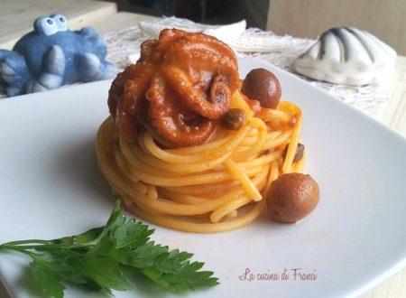 Spaghetti polipetti olive e capperi senza glutine