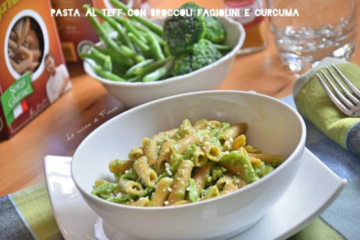Pasta broccoli fagiolini al profumo di curcuma