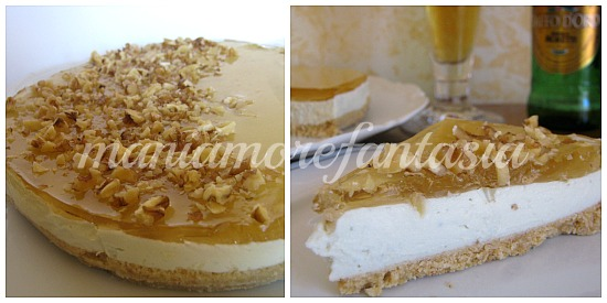 cheesecake al gorgonzola e gelatina di birra