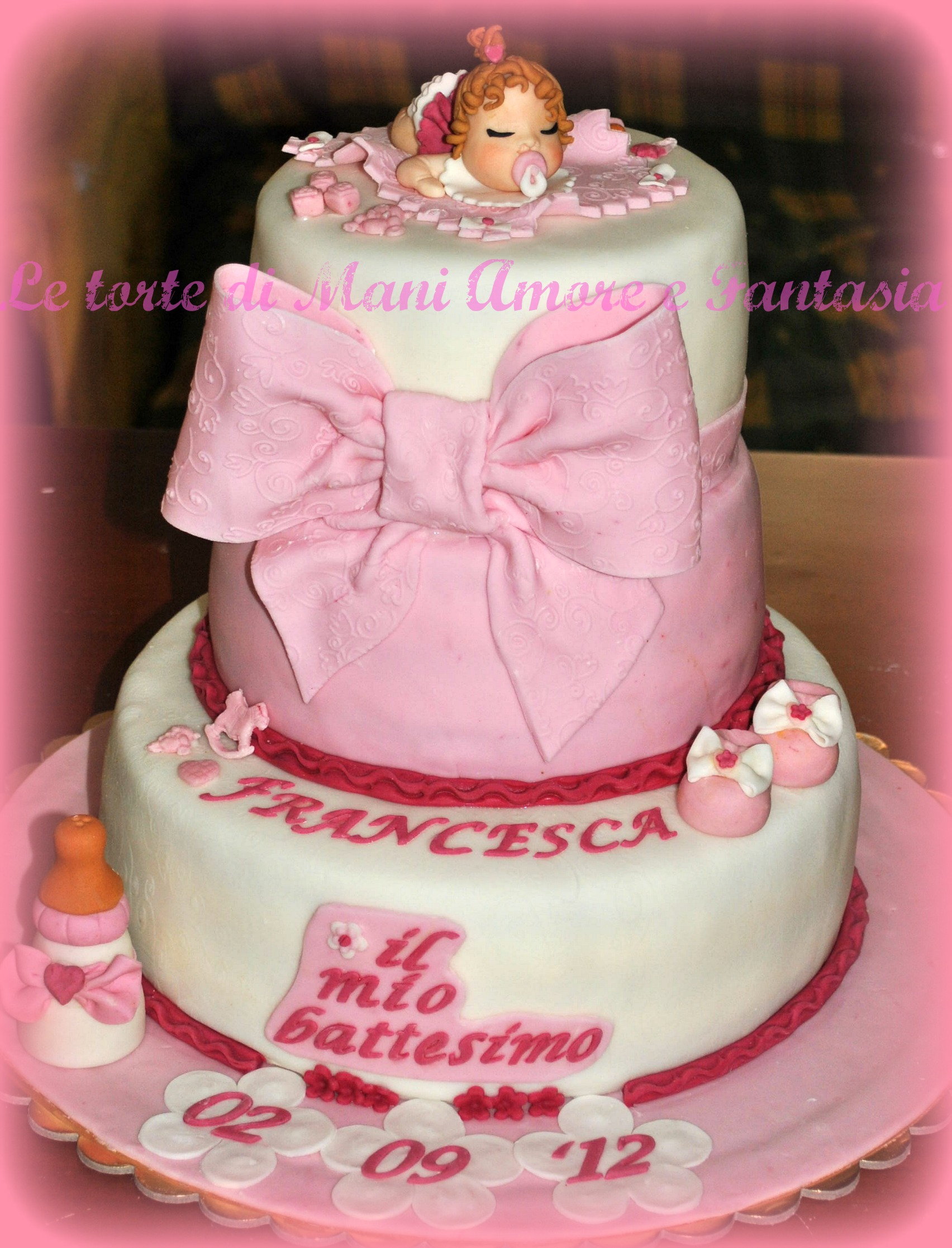 Torta battesimo per bimba battesimo bambina torta tre for Disegni di 2 piani