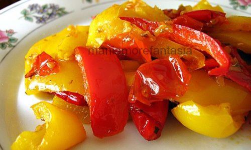 Contorno semplice di peperoni al microonde, ricetta light