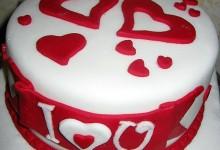 Torta S. Valentino, decorazione semplice