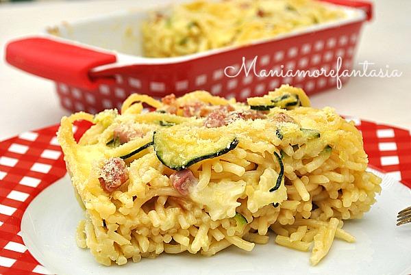 timballo di pasta zucchine e pancetta