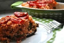 Timballo di riso con melanzane e peperoni, ricetta light