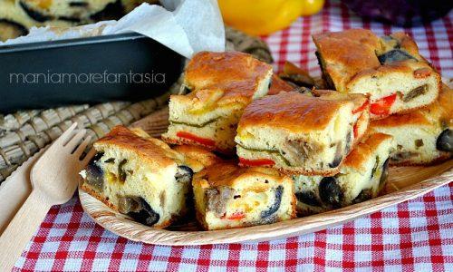 TORTA SALATA SOFFICE CON PEPERONI E MELANZANE