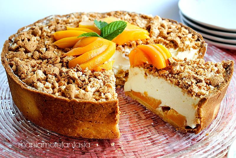 crostata cheesecake pesche amaretti