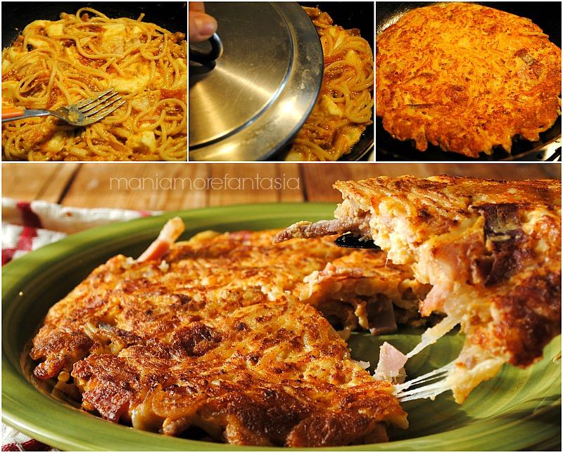 frittata di spaghetti, ricetta svuotafrigo per riciclare gli avanzi di pasta