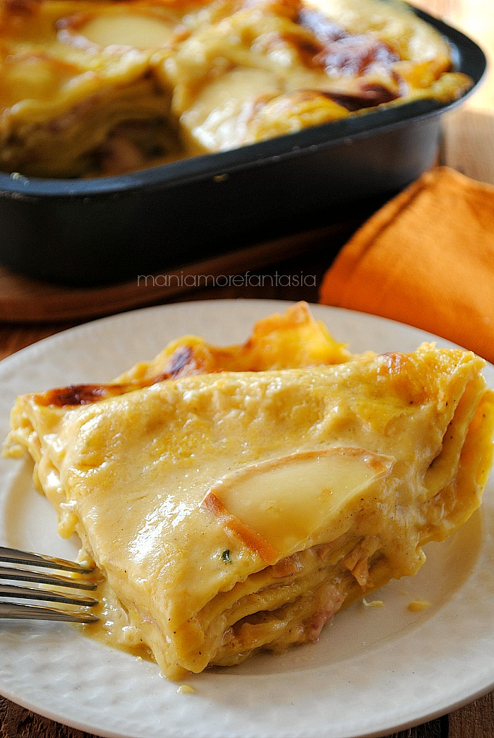 lasagne con zucca e lardo con scamorza affumicata