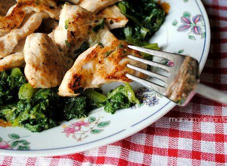 Straccetti di pollo con borragine, ricetta light