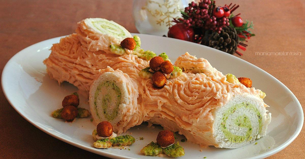 Tronchetto Di Natale Cucchiaio D Argento.Tronchetto Salato Al Salmone Con Crema Ai Pistacchi