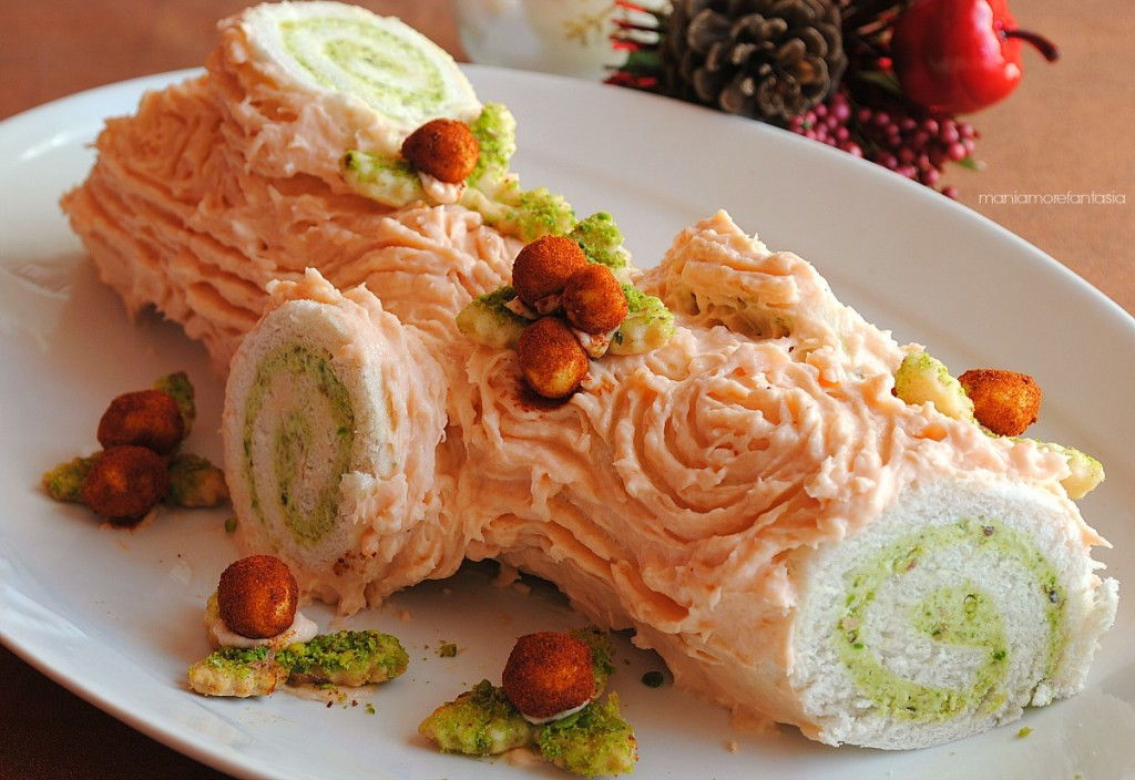 tronchetto salato salmone e pistacchi, senza cottura