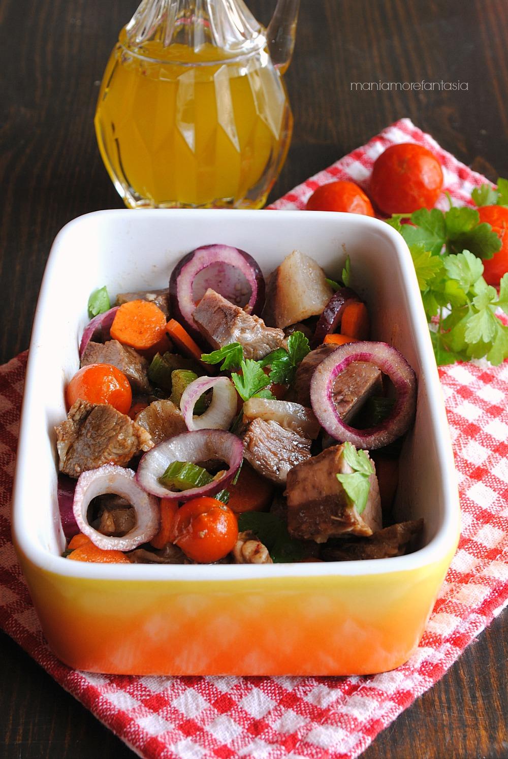 insalata di carne e verdure al balsamico