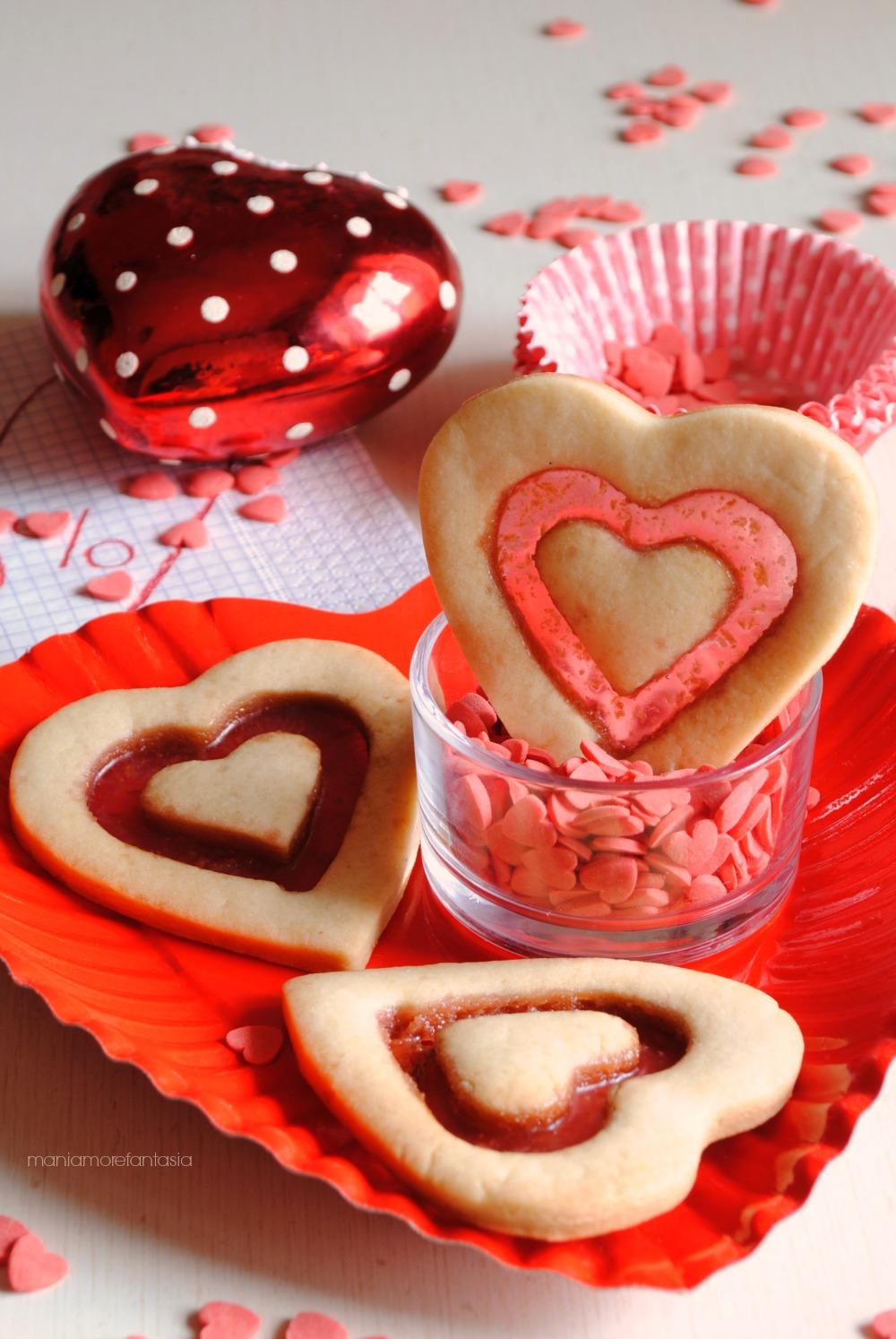 biscotti a forma di cuore san valentino doppio cuore con vetrino