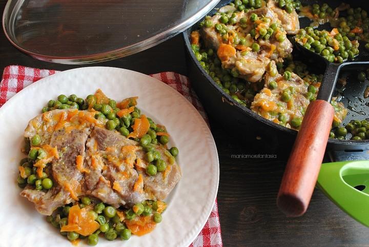 ossobuco di tacchino in umido con piselli e carote