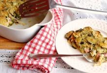 Sformato di zucchine con pancetta e formaggio filante