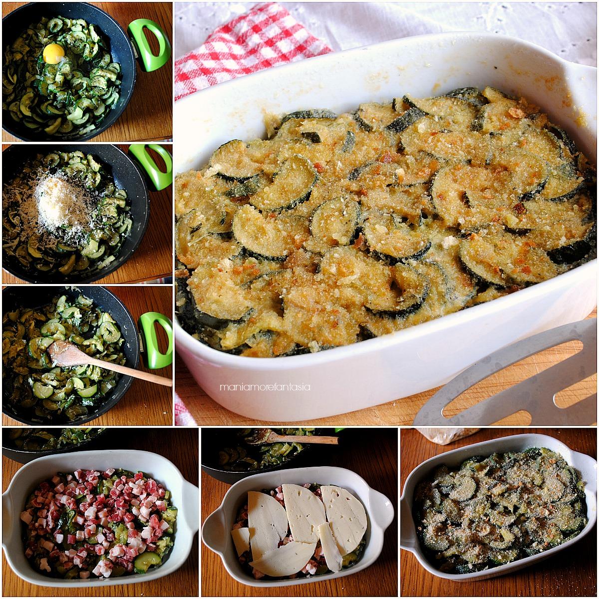 sformato di zucchine pancetta e formaggio filante
