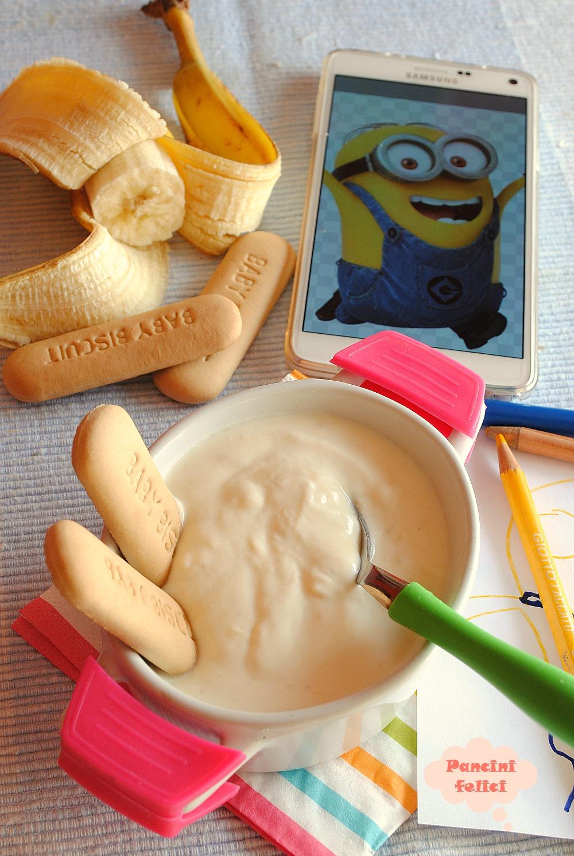 crema di yogurt e ricotta alla banana, merenda per bambini