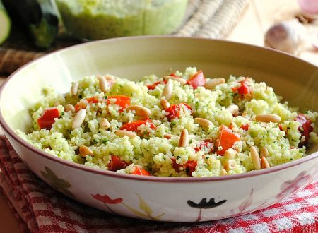 Couscous freddo con peperoni e pesto di zucchine