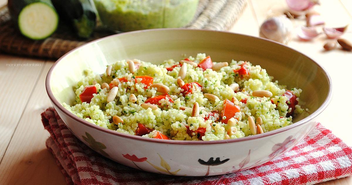 insalata di couscous pesto di zucchine freddo