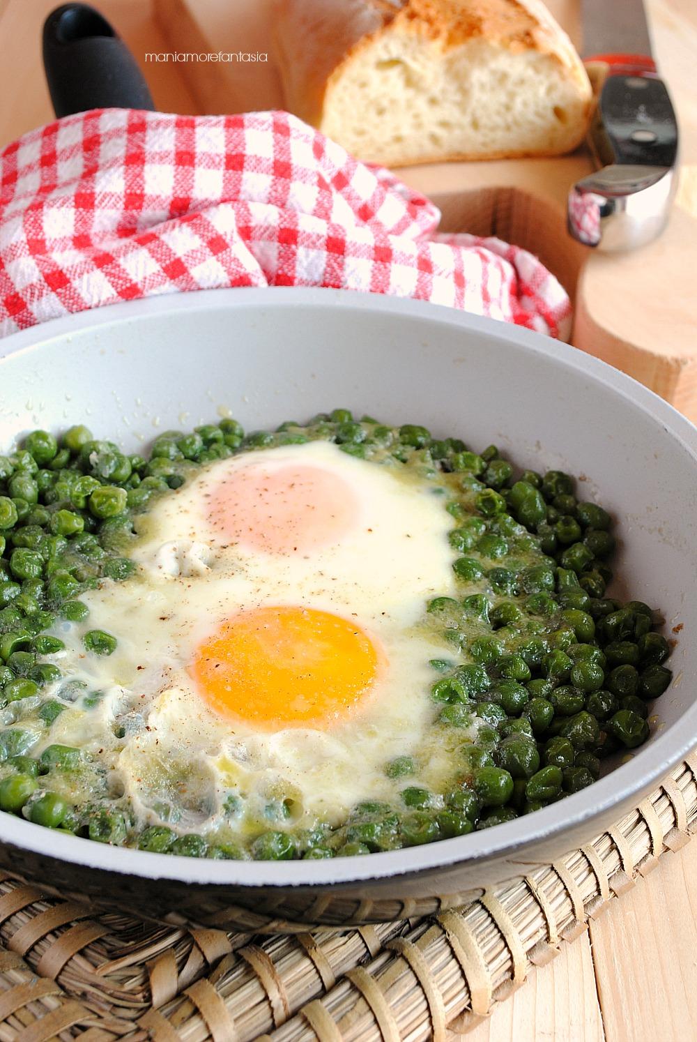 uova con piselli surgelati
