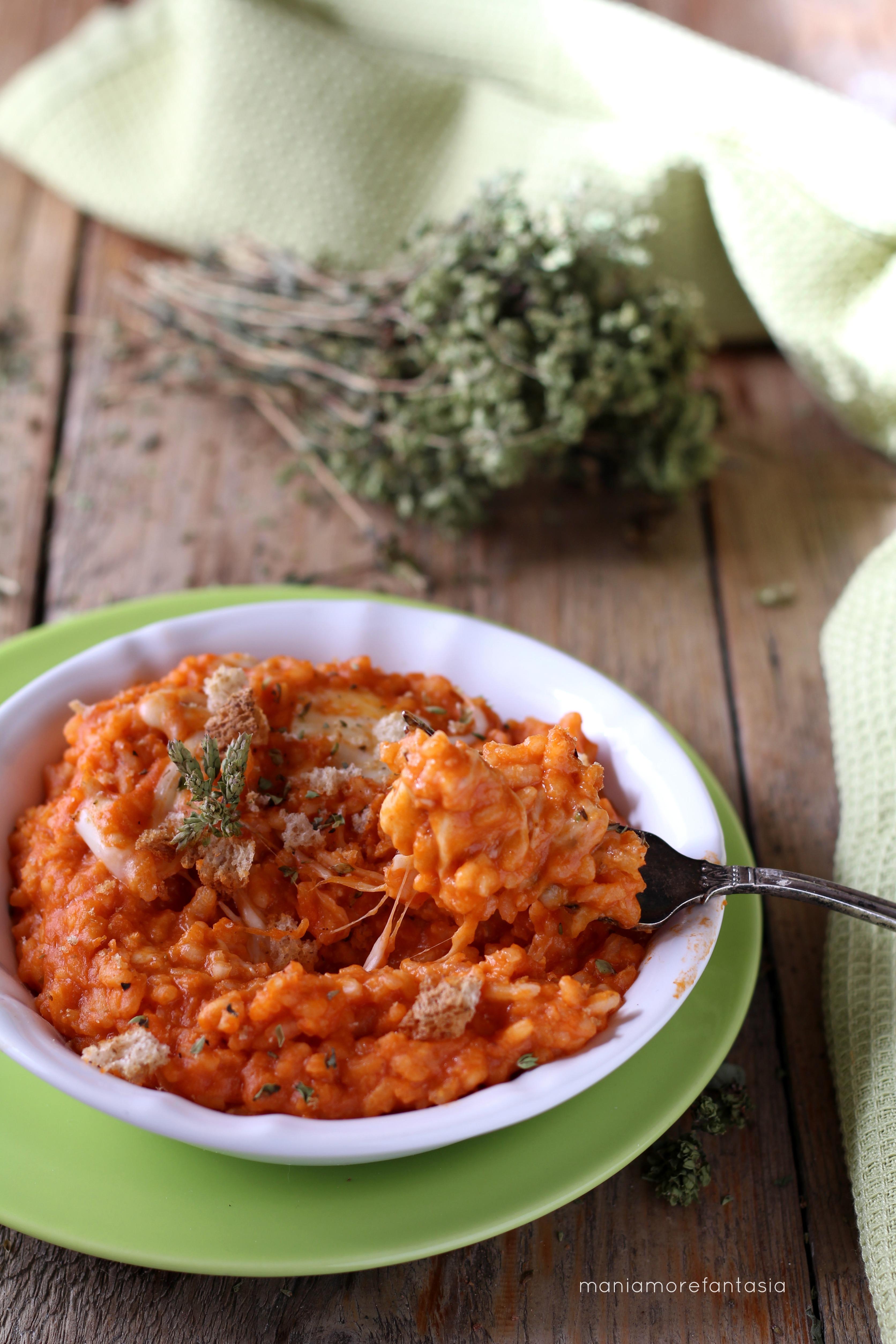 risotto crema di pomodoro e mozzarella