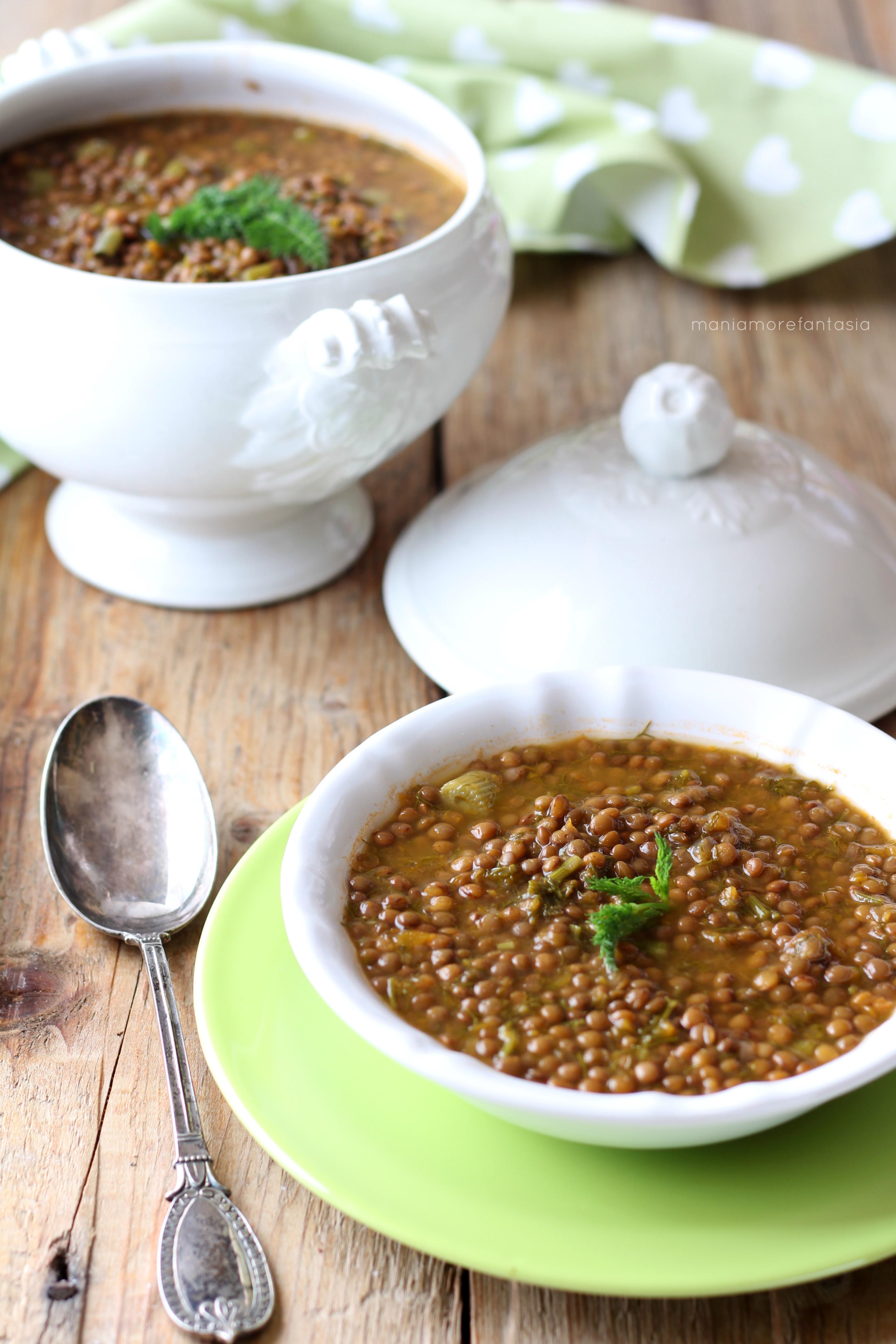 zuppa di lenticchie e finocchietti selvatici