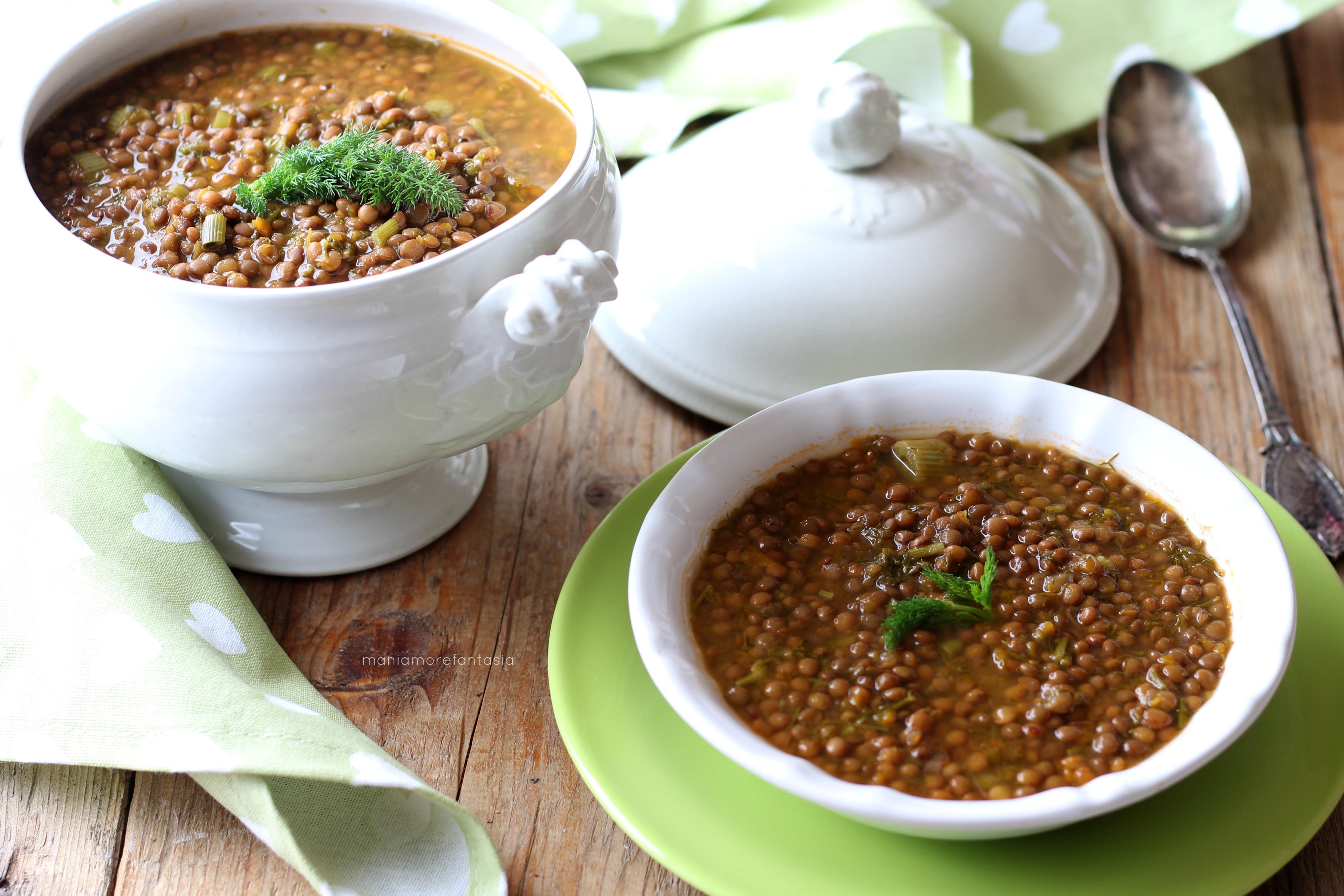 zuppa di lenticchie e finocchietti