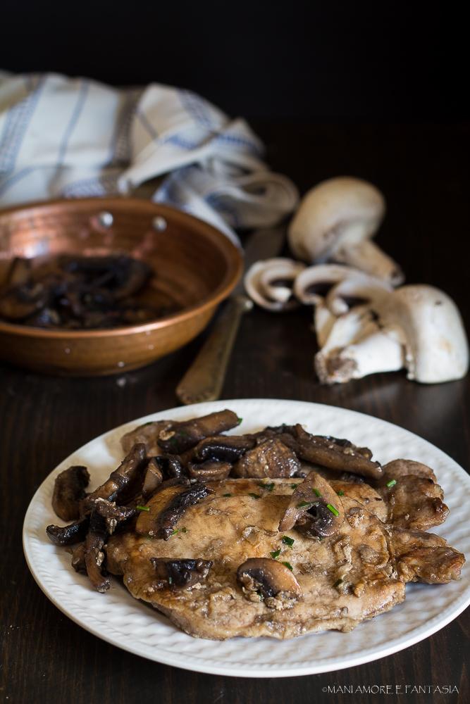 fettine di lonza di maiale ai funghi